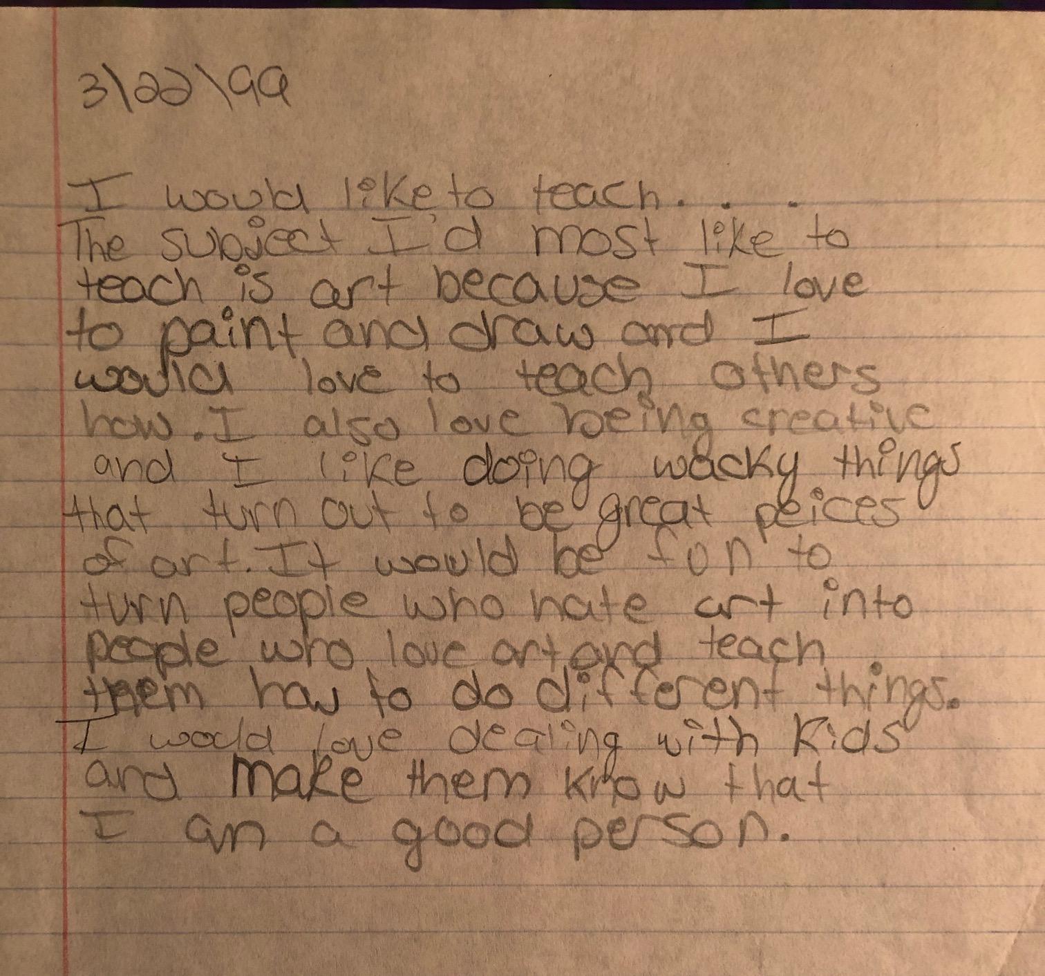 A letter I wrote circa 1999.